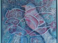 Louise Adams Bird in bloom acryl op doek